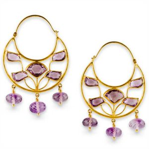amethyst and 22k gold earrings from Munnu the Gem Palace