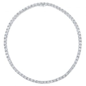 Rahaminov emerald cut diamond necklace