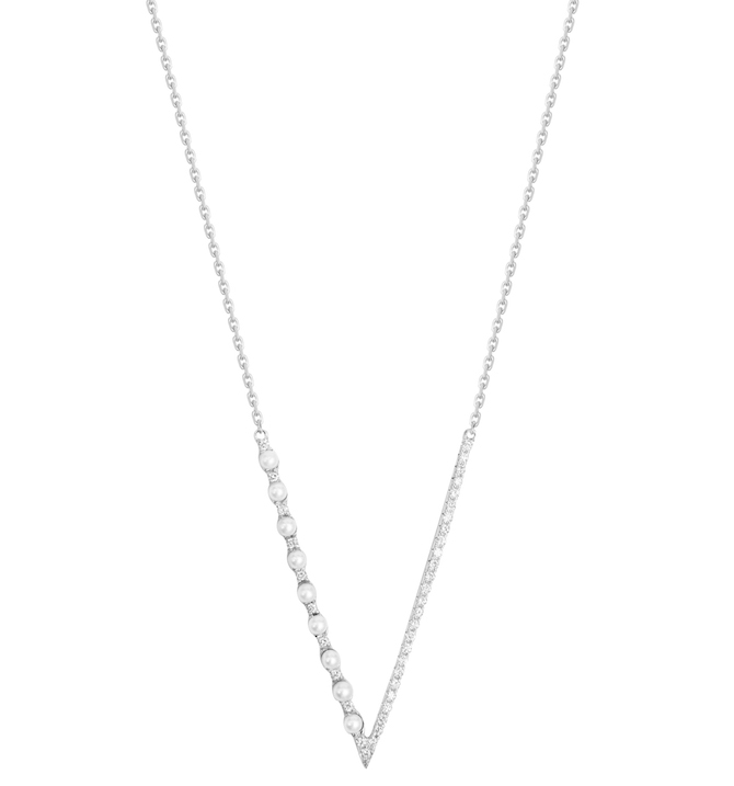 Djula pearl and diamond V necklace