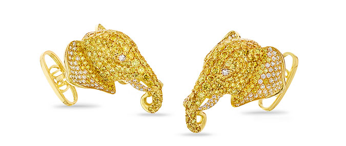 yellow diamond elephant cufflinks
