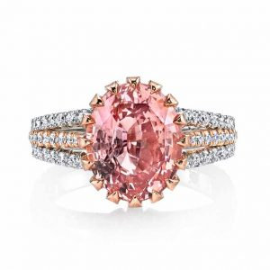 Omi Prive padparadscha sapphire and diamond ring