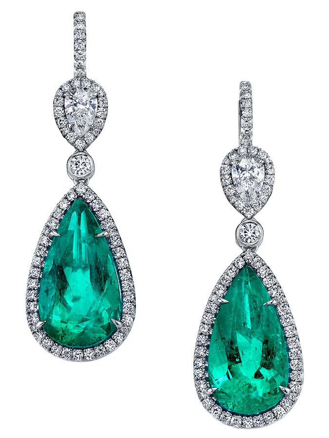 Omi Prive emerald drop earrings