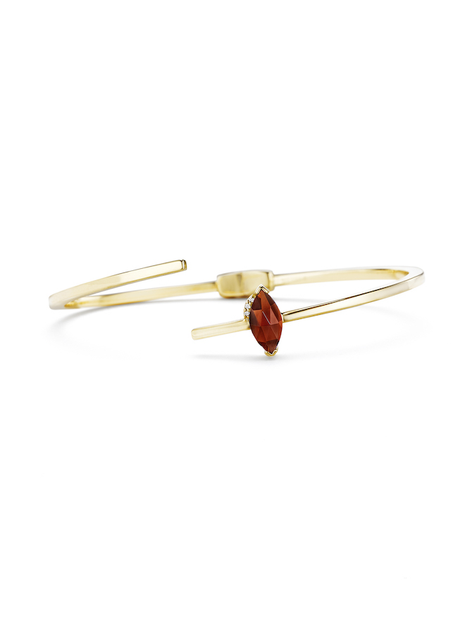 Paige Novick Asymmetrical Hinged Bangle with marquise shaped garnet