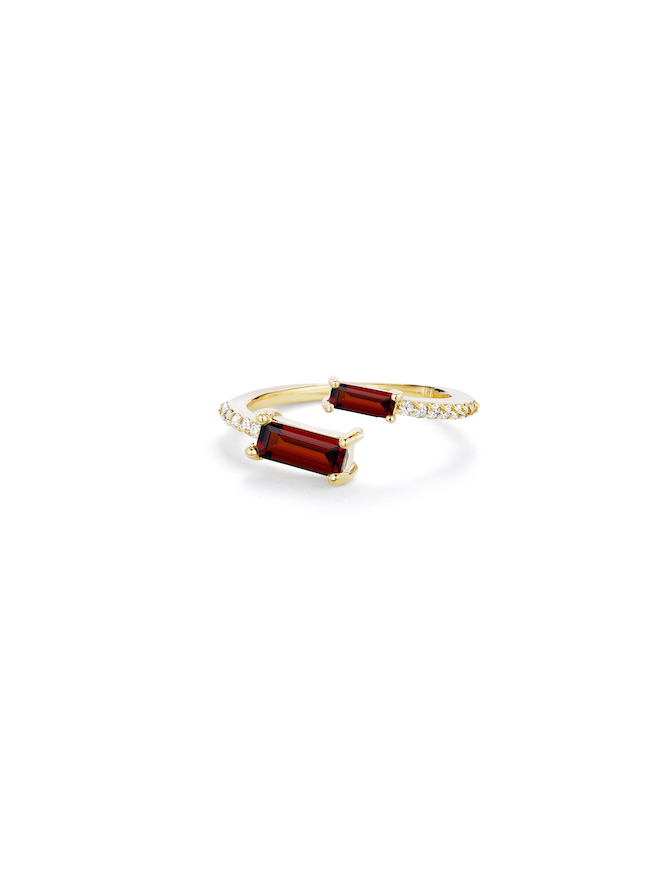 Paige Novick Asymmetrical Ring with diamond pavé and two baguette garnets