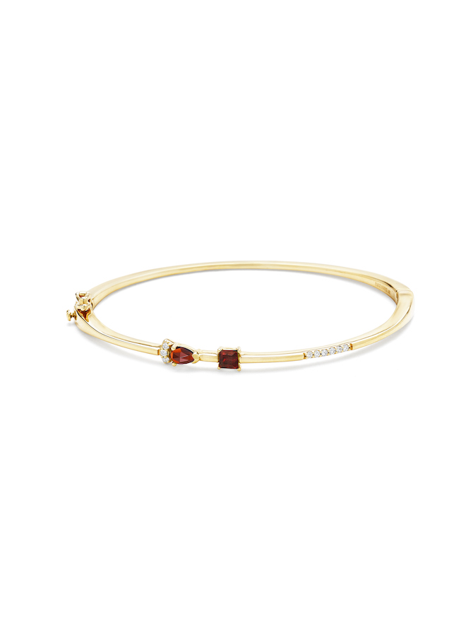 Paige Novick Hinged Bangle with marquise and square shaped garnet