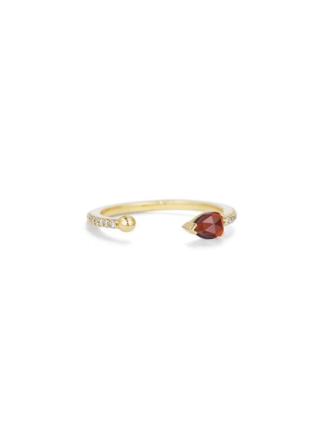 Paige Novick Midi Ring with diamond pavé and pear shaped garnet in 18k yellow gold