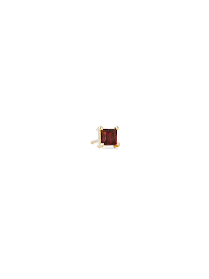 Paige Novick Mini Square Garnet Gemstone Stud in18k yellow gold