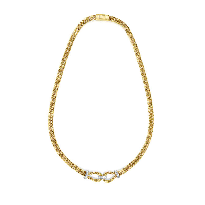 Phillip Gavriel Gold Double Knot Necklace with Diamonds