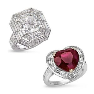 Picchiotti cushion cut diamond ring and heart shape ruby ring