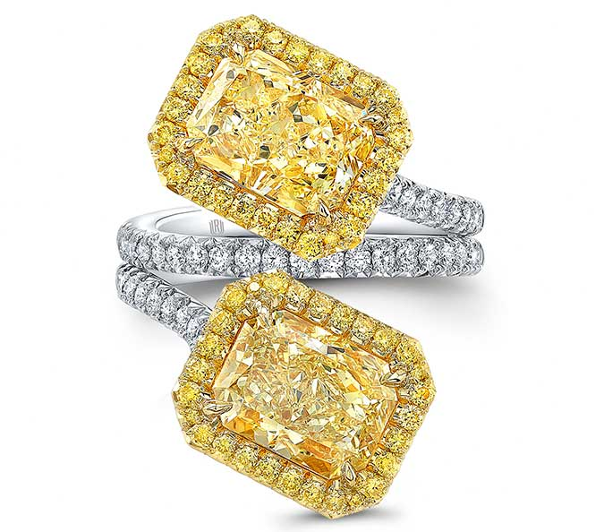 yellow diamond bypass ring