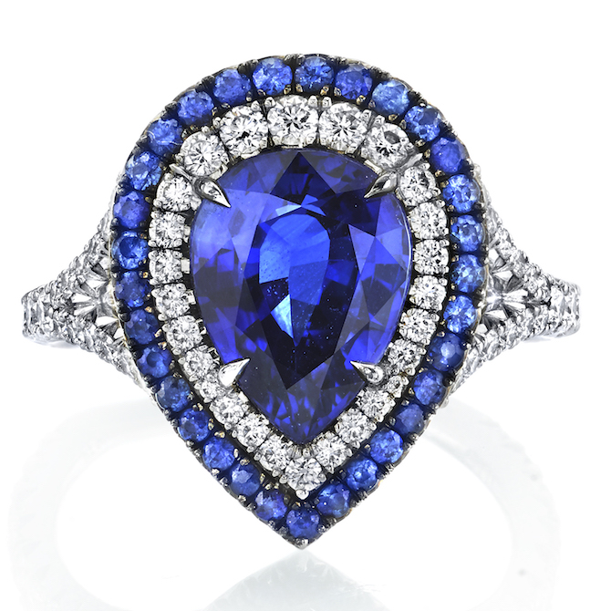 Omi Prive sapphire pear ring