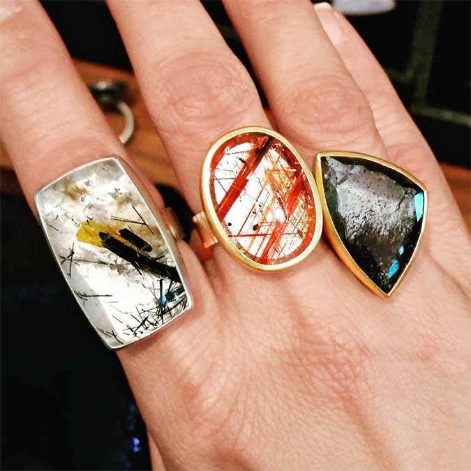 Sam Woehrmann rutilated quartz rings