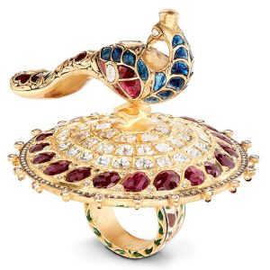 ruby diamond and sapphire peacock ring