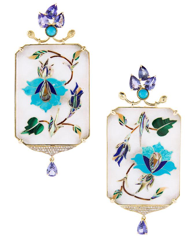 Silvia Furmanovich white marble and gemstone earrings