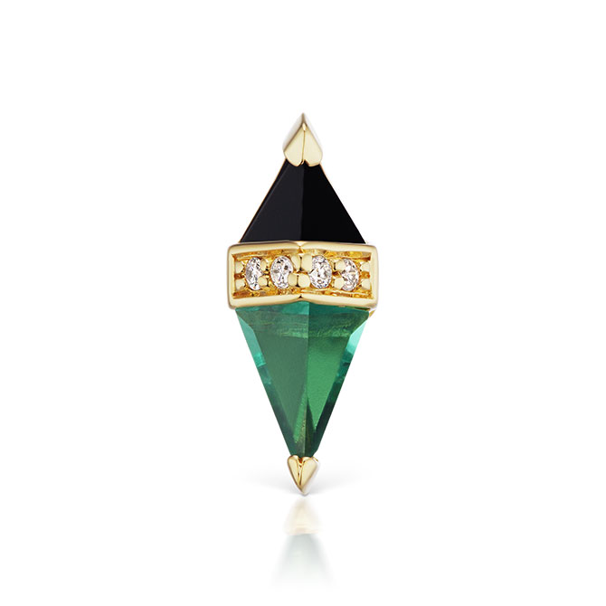 Sorellina green quartz and onyx charm