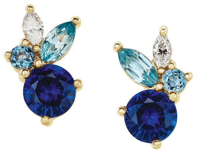 Stuller blue gemstone cluster earrings