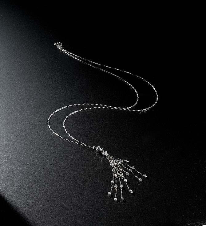 Suna Bros Platinum Tassel Pendant Necklace Necklace