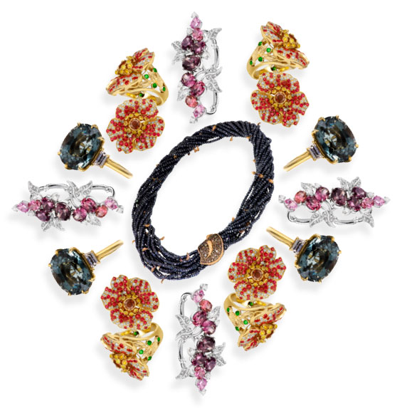 red black and pink spinel jewelry
