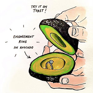 Avocado Ring Box Drawing