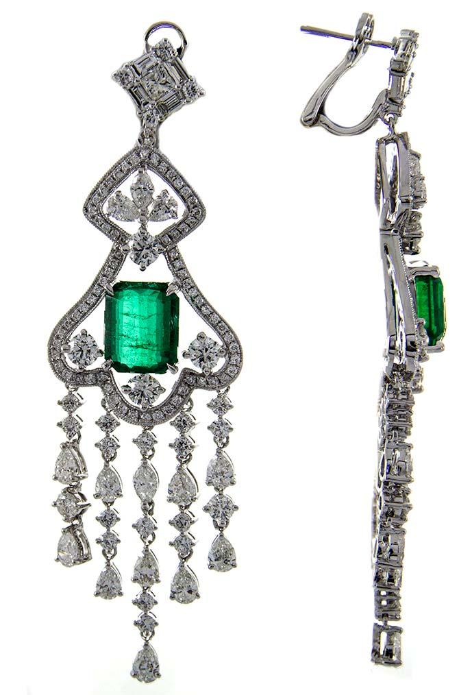 Cirari Diamond and Emerald Statement Chandelier Earrings