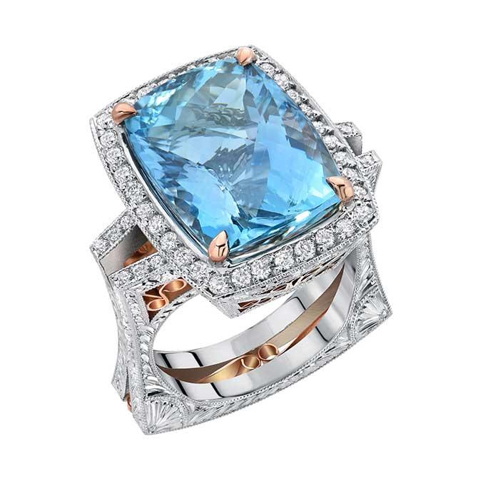 Dallas Prince 18K TESORO Santa Maria Aquamarine Ring