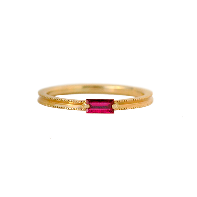 Elliot Gaskin Ruby Baguette Ring