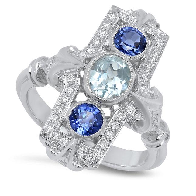 Beverley K sapphire and aquamarine ring