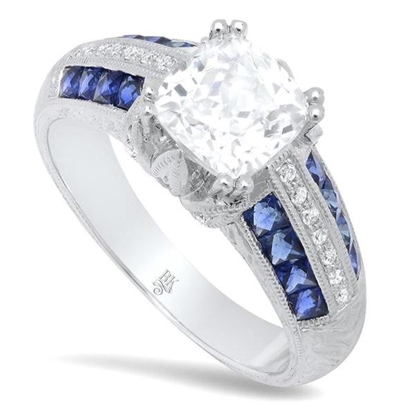 Beverley K diamond and sapphire engagemnent ring