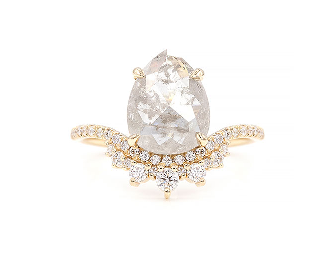 Everett 2.33 carat grey diamond coronet ring