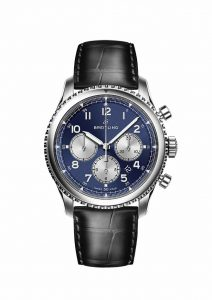 Breitling Navitimer 8 B01 with blue dial and black alligator leather strap
