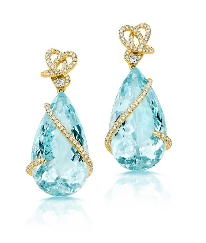 Pamela Huizenga Aquamarine Drop Earrings