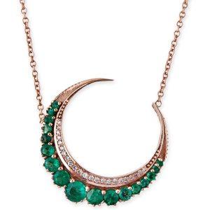 Jacquie Aiche crescent emerald necklace