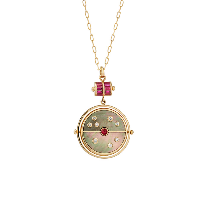 Retrouvai Mother of Pearl Compass Pendant