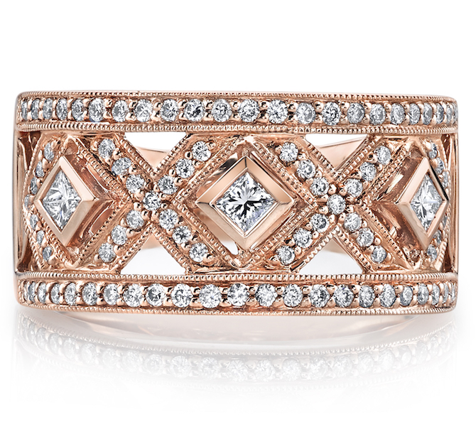 Mars rose gold diamond band