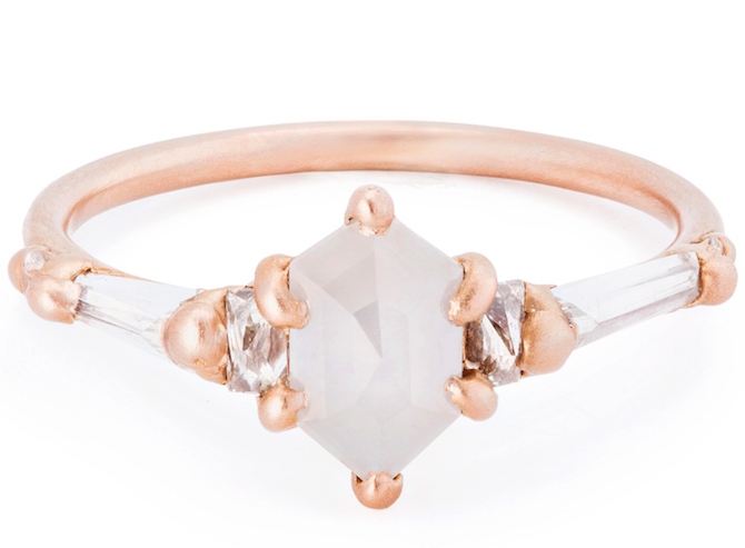 Polly Wales milky hexagonal ring