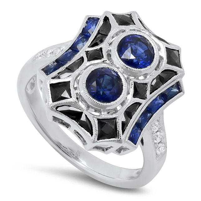 Beverley K onyx and sapphire ring