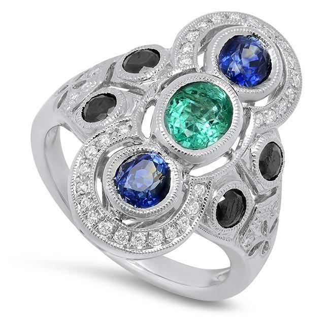 Beverley K sapphire emerald onyx ring