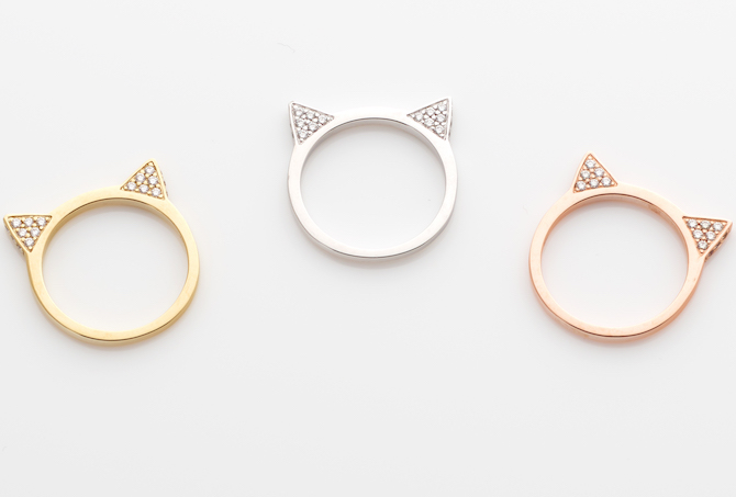 Anabela Chan Mini Kitty rings