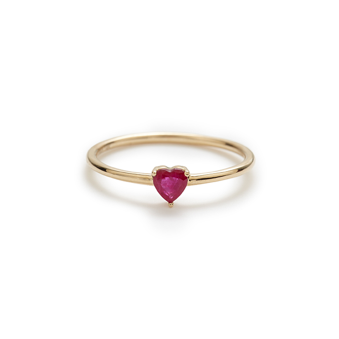 Stella and Bow Ruby Heart Ring