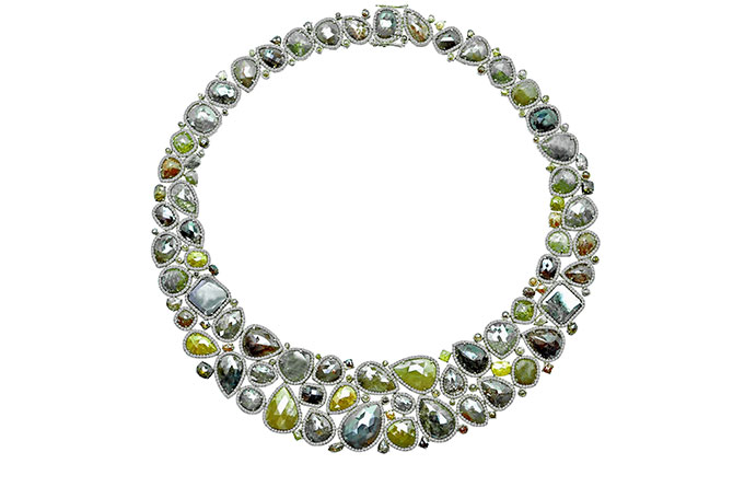 Sutra Jewels Diamond Slice Bib Necklace