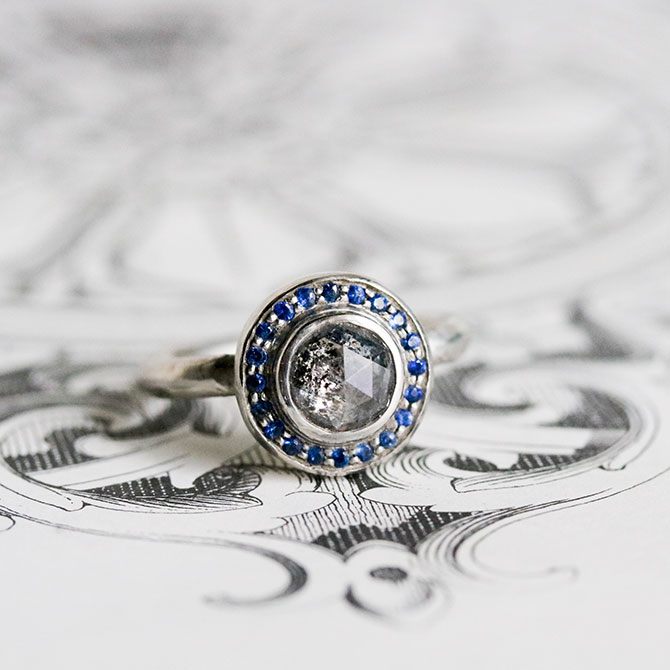 Vena Amoris Galaxy Diamond ring with sapphires