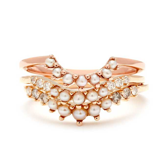 Anna Sheffield pearl nesting suite ring stack