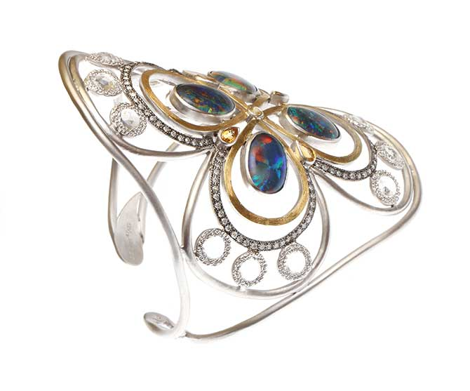 Coomi opal and sterling silver cuff