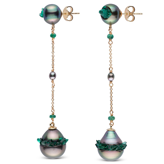 Little h pearl and emerald earrings