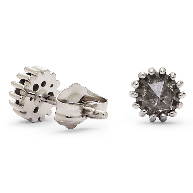 Dana Bronfman rose-cut gray diamond earrings