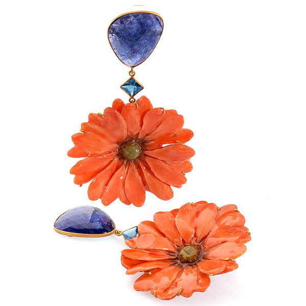 Bahina orange daisy earrings