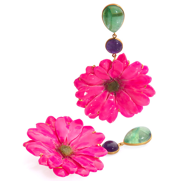 Bahina pink daisy earrings