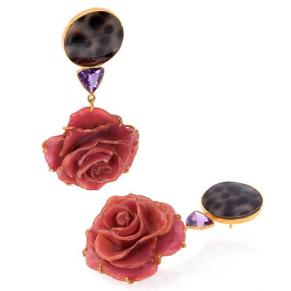 Bahina rose earrings