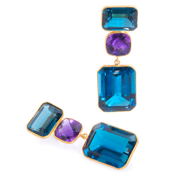 Bahina topaz and amethyst earrings
