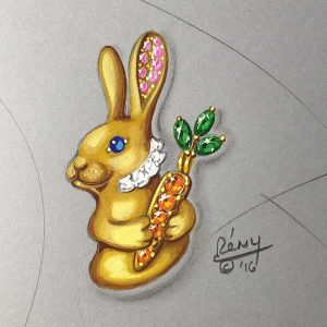 Easter bunny drawing Remy Rotenier